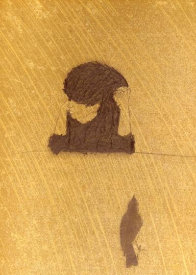 Crayon sur papier huilé, 32x38cm